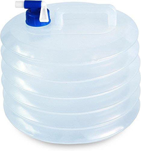 normani Faltbarer Falteimer Wasserkanister mit Hahn in verschiedenen Größen Farbe 10 Liter -R Größe Transparent