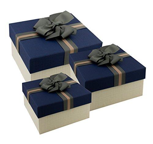 Emartbuy Set de 3 Boites-Cadeaux Rigide de Luxe, Boîte Crème avec Couvercle  Bleu 4c257344270