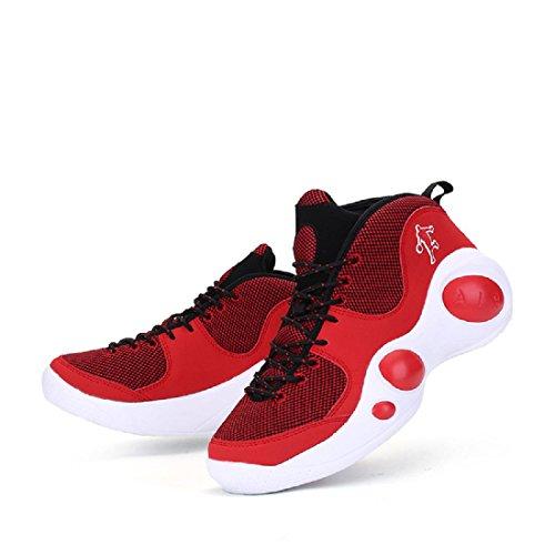 Herren Sportschuhe Das neue Ausbildung Basketball Schuhe Rutschfest Atmungsaktiv Turnschuhe Laufschuhe Red v9Bei6Ya