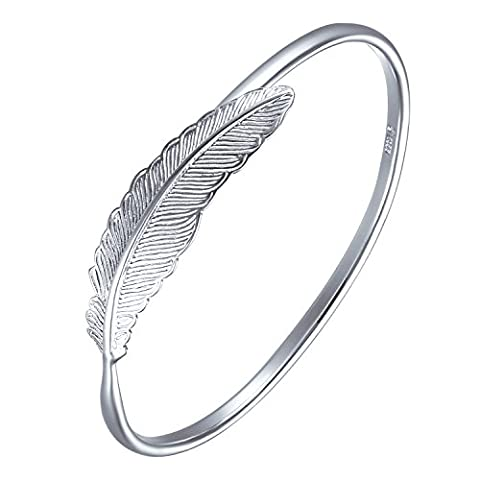 SILVERAGE 925 Sterling Silver Women Bracelet Vintage Style Adjustable Cuff Feather Bangle New Fashion Jewelry