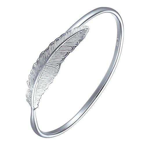 SILVERAGE Damen Armband 925 Sterling Silber Armkette Verstellbar Charm Armreif,Feder Armband Schmuck,trendigen Schmuck für