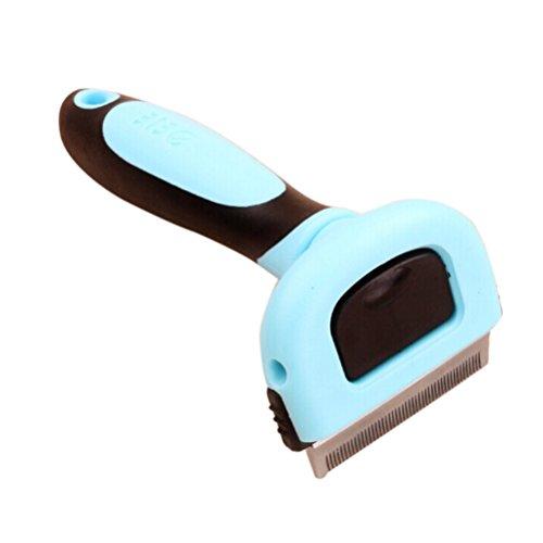 Pet Grooming cepillo Deshedding retiro de herramienta peine para perro gato pequeños animales (azul)