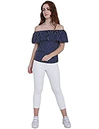 41ab9db8b9a53 PIXIE lets work together! Women s Girls Blue Printed Off Shoulder American  Crepe Sleeveless Top