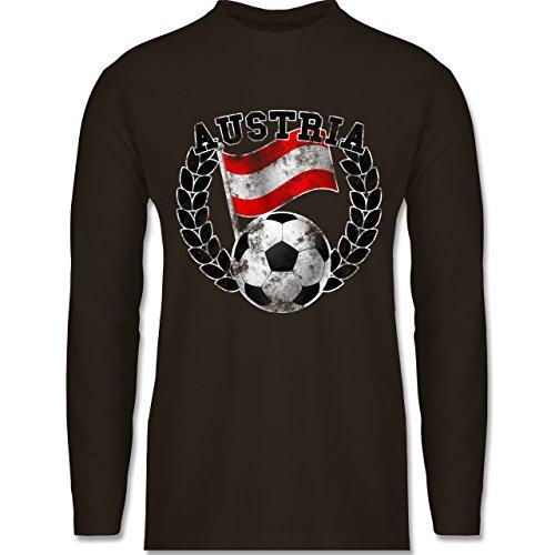 EM 2016 - Frankreich - Austria Flagge & Fußball Vintage - Longsleeve / langärmeliges T-Shirt für Herren Braun