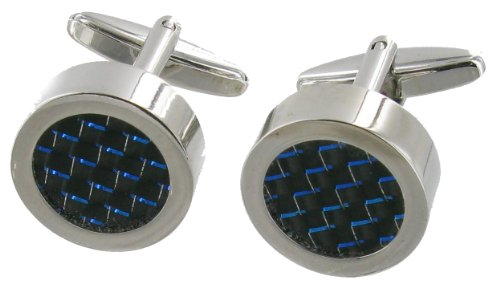 cuff-links-black-and-round-with-blue-specks-very-striking-in-presentation-gift-box