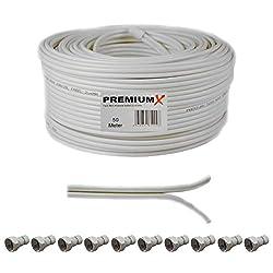 50m Sat Koaxial Kabel 90dB Twin Mini 2X 4mm Weiß Antennenkabel extra dünn FullHD HDTV 4K inkl. 10x F-Stecker