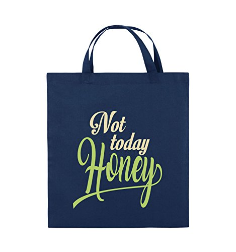 Comedy Bags - Not today Honey - Jutebeutel - kurze Henkel - 38x42cm - Farbe: Schwarz / Weiss-Neongrün Navy / Beige-Hellgrün