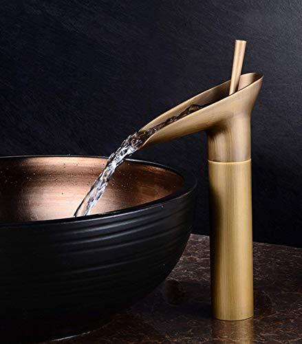 Sccot Cascada Grifo de Lavabo Baño, Monomando Grifos Baño de Vendimia Latón, Estilo de Copa de Vino Cocina Alto- Mezclador para Baño ( Latón Antiguo)
