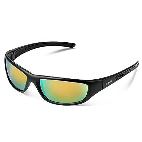 Duduma Tr8116 Polarised Sports Sunglasses for Mens and Womens Design for Ski Baseball Golf Cycling Fishing Running Driving Superlight Frame (black matte frame with gold lens)