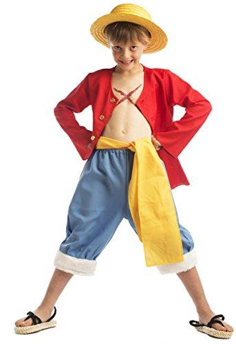 One Piece - 59197 - Déguisement Pour Enfant - Coffret Luffy Avec Chapeau - Rouge - 8-10 Ans