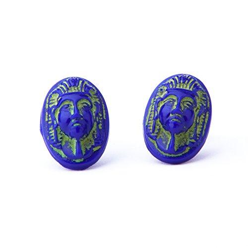 Vintage Ägyptische Pharao Ohrstecker Cobalt Blau Glas Nieten auf Neu Sterling Silber 925Pfosten und Rücken Vintage Milk Glass