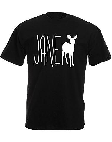 Jane Doe, Imprimé des hommes T-shirt - Noir/Blanc 2XL = 119-124cm