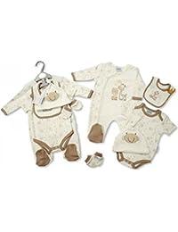 Bebé–Set de regalo todo en uno traje de Body, babero, gorro y manoplas–Tiny recién nacido & 0–3M, jirafa de color crema