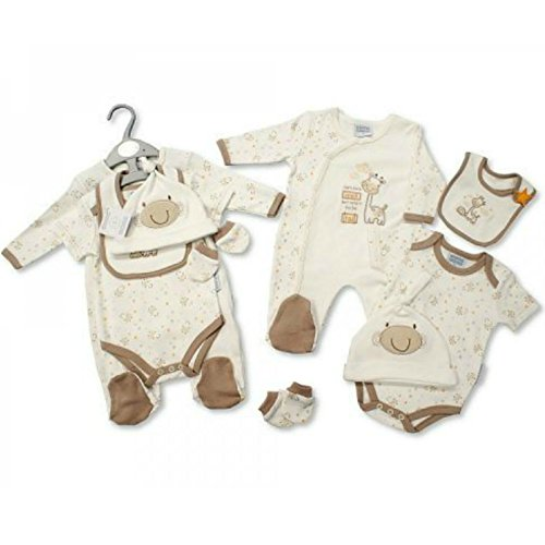 Set Regalo per Neonato-Tuta da All-In-One, Body, Bavaglino, Cappello E Guanti-Piccolo Giraffa neonati e 0-3m, colore: crema