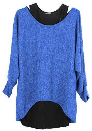 Emma & Giovanni - Damen Oversize Oberteile Tshirt/Pullover (2 Stück) (XL/XXL, Elektrisches Blau)