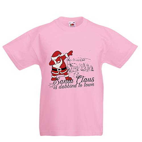 lepni.me Kinder Jungen/Mädchen T-Shirt Der Weihnachtsmann tupft in die Stadt - Frohe Weihnachten (7-8 Years Pink Mehrfarben)