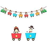 Hosaire 1x Doppelseitiger Druck Banners Kreative Kleiner Zug Weihnachts Szene dekorations Flagge Weihnachten Requisiten Lang 3m (20 * 15cm)