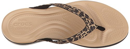 Crocs Caprivflip, Chaussons Mules Femme Multicolore (Leopard)