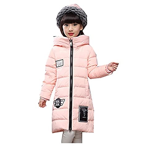 Girls' Winter Parka Down Coat Puffer Jacket Overcaot Thick Warm Outwear (10T, pink)