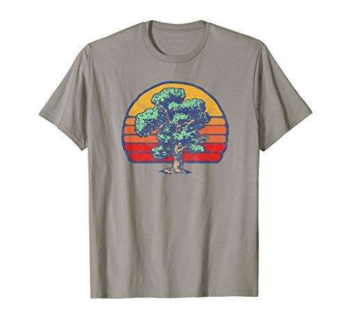 Retro Sun Minimalist Oak Tree Design Graphic  T-Shirt - Tree Hugger Gelben T-shirt