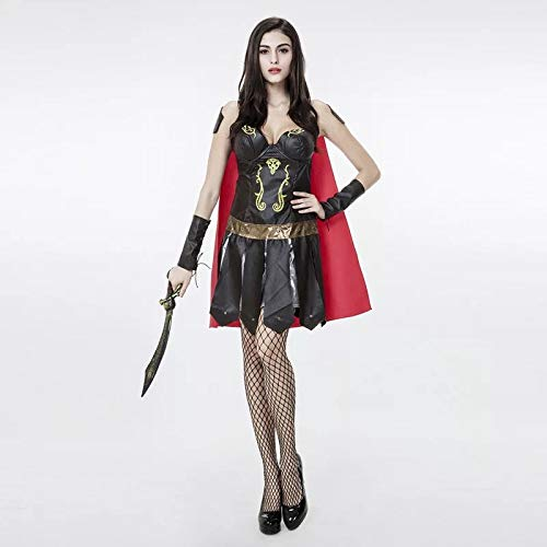 FHSIANN Erwachsene Frauen Halloween Sexy Roman Solider Gladiator Krieger Piraten Kostüm Red Robe FAncy Outfit Korsett Kleid Mantel Set Für Dame (Sexy Krieger Kostüm)