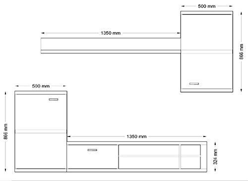Wohnwand Anbauwand 4-teilig 6427 weiß / schwarz Hochglanz inkl. LED Beleuchtung - 2