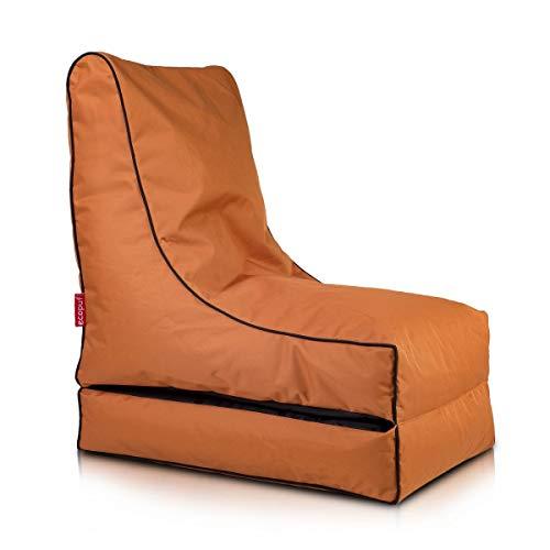 Ecopuf Coque Pouf Chaise Longue Fumiko Polyester Largeur cm.50 Longueur cm.Plié 75 cm. – Ouvert 150 cm. Hauteur Assise cm.Plié 85 cm. – Ouvert 30 cm. Marrone Chiaro Nc11