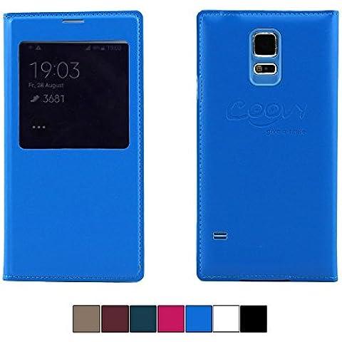 COOVY® FUNDA ULTRAFINA CON VENTANA DE VISUALIZACIÓN PARA Samsung Galaxy S5 SM-G900F SM-G901F Neo SM-G903F COVER CASE CUBIERTA DELGADO Funda projoectora con lámina projoectora de pantalla color azul claro