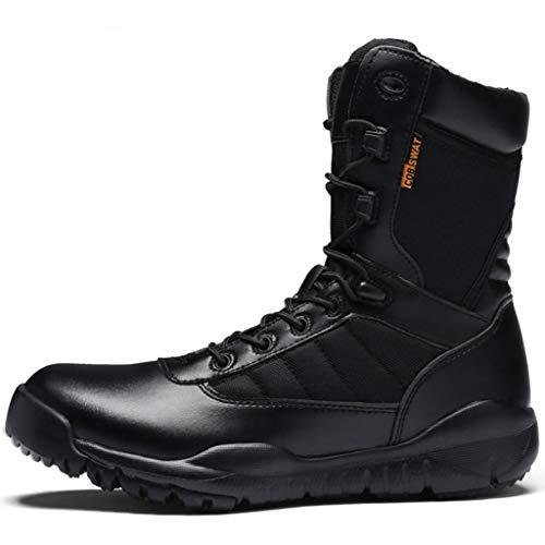 NHX Tactical Stiefel mit seitlichem Reißverschluss Commando Stiefel Trekking-Schuhe Gehen Anti-Rutsch-Hoch-Spitze für Erwachsene Militärstiefel,Black-39 -