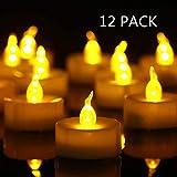 Bougie chauffe-plat LED sans flamme vacillante jaune chaud 100 heures + à piles Idéal pour les fêtes. 12 PACK Warm Yellow