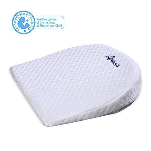 Aurelius Baby Keil-Kissen, anti-reflux ,Koliken ,Verstopfung; mit atmungsaktivem Memory-Schaum 12° Steigung, rutschfest, für Bett/Kinderbett/Matratze/Stubenwagen -