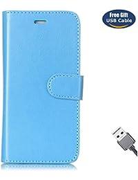 Funda Galaxy S7 Edge,Funda Cover Galaxy S7 Edge,Aireratze Slim Case de Estilo Billetera Carcasa Libro de Cuero,Carcasa PU Leather Con TPU Silicona Color básico [Imán versátil versátil de la caja de diseño 2 en 1] Case Interna Suave [Función de Soporte] [Ranuras para Tarjetas y Billetera] [Cierre Magnético] para Samsung Galaxy S7 Edge (Azul) (+ Cable USB)