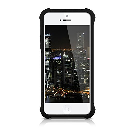 kwmobile Hülle für Apple iPhone SE / 5 / 5S - Hybridhülle Dual Case Handy Schutzhülle TPU Silikon - Hybrid Cover Neon Grün Schwarz Schwarz