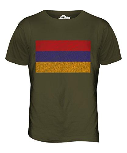 CandyMix Armenien Kritzelte Flagge Herren T Shirt Khaki Grün