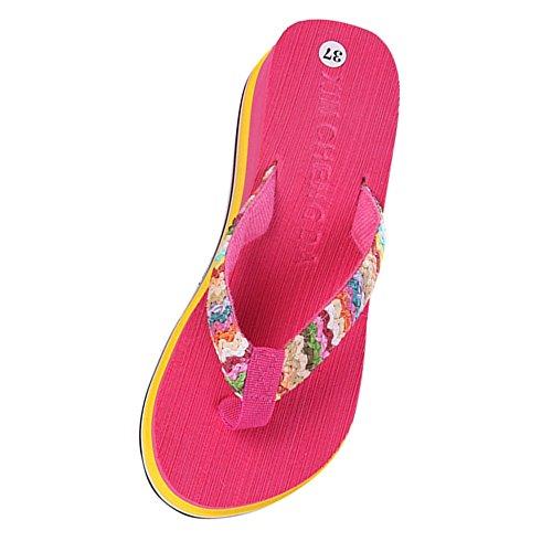 Longra Donna Pantofole a sdraio per bambini Rosa caldo