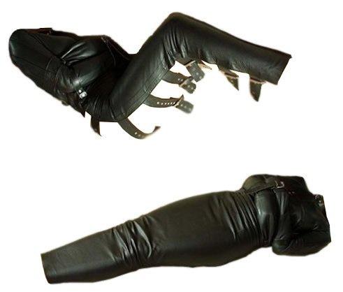 Bondage Leder Schlafsack Zwangsjacke Fesselset Fesseln Hand Fuß Ganz Körper Fesseln