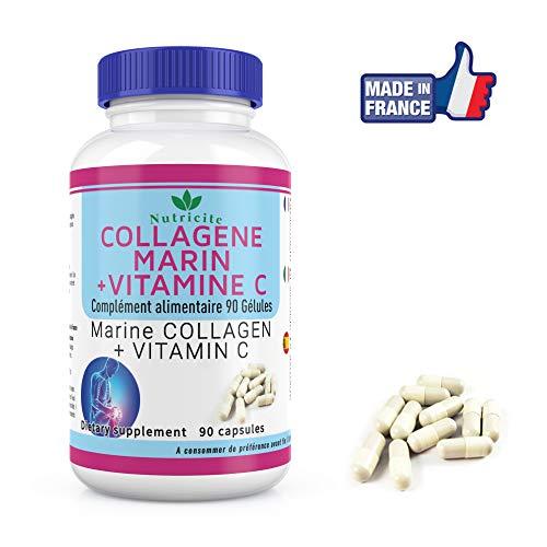 Marines Kollagen+Vitamin C -90 Kapseln -Nutricite -600 MG -Französische Qualität zum richtigen Preis -Collagen Anti Age 600mg Natural für ein Gesicht und eine strahlendere Haut