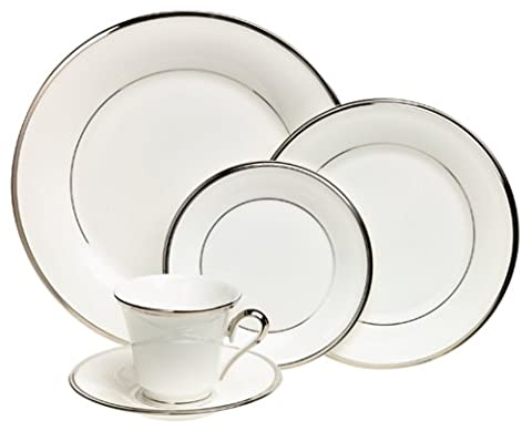 Lenox Solitaire White Platinum-Banded 5-Piece Place Setting, Service for 1