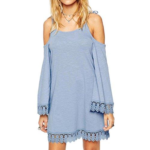 QIYUN.Z Frauen Weiss/Blau Traegerlose A-line Kleid Lace Splicing Flare Aermel Blue