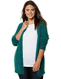 d3ce680b0ae3 Ulla Popken Damen große Größen bis 62+   Strickjacke aus Flauschgarn    Offene Form   V-Ausschnitt   Lange Ärmel  …