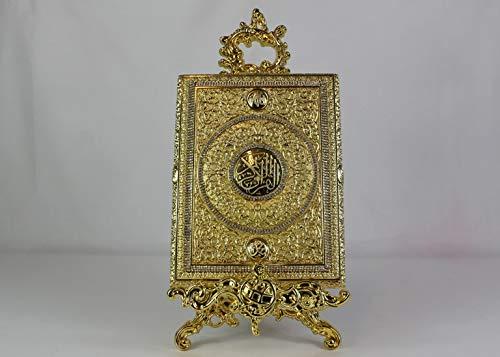 Koran Box L in Goldton mit Kristall Diamanten + Aufsteller, Tolles Geschenk zur Hochzeit, Dekoration (Koran-Buch Nicht im Lieferumfang Enthalten)