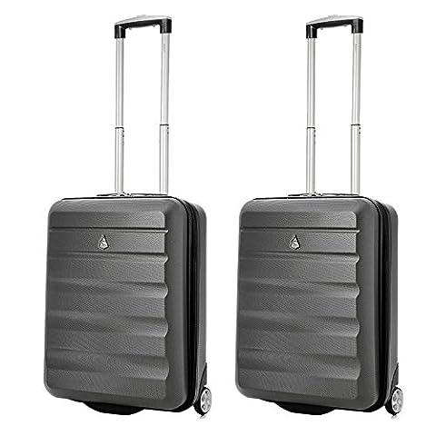 Aerolite 55x40x20 Ryanair Taille Maximale 40L ABS Bagage Cabine Bagage à Main Valise Rigide Légere à 2 Roulettes , S'adapte Également à Easyjet , Lufthansa , Monarch et Plus , Set de 2 , Gris Foncé