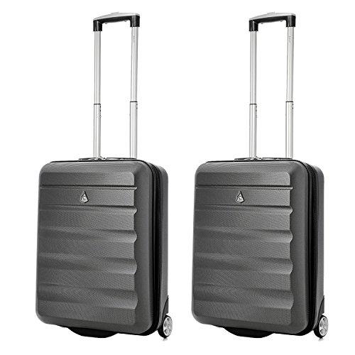 Aerolite 55x40x20 Ryanair Höchstbetrag 2-Rad Leichtgewicht Hartschale Bordgepäck Handgepäck Kabinentrolley Reisekoffer Trolley Koffer, 2 x Kohlegrau