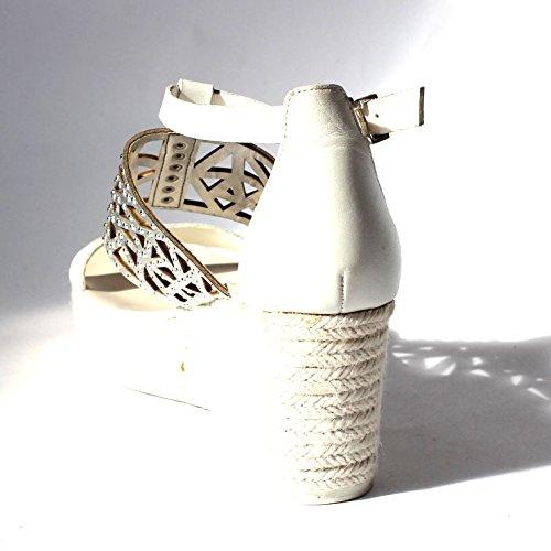 BCB generazione cuneo sandali, misura 3, 5, da £152 Argento (White-Silver)