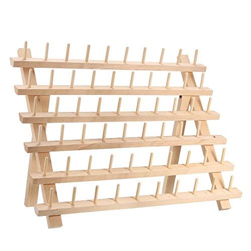 garnrollenhalter naehmaschine KING DO WAY Spulenhalter Garnrollenhalter Faltbare Gewinde Rack Holz Gewinde Halterung … (60 Spulen)