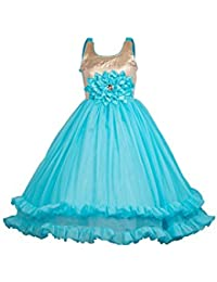 My Lil Princess Baby Girls Birthday Frock Dress_Ocean Red Frock_Satin and Net Fabric_4-10 Years