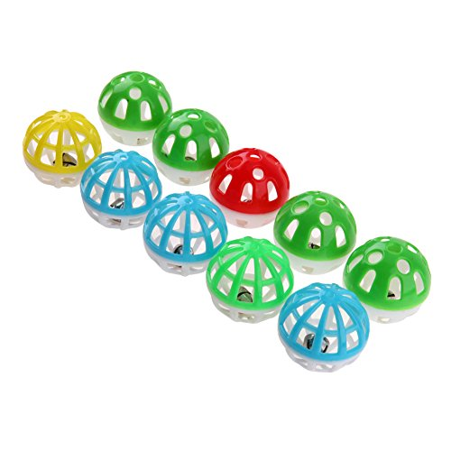 YouN 10pcs Plastic Hollow Out Round Pet Cat Colorful Ball Toys With Small Bell (Mylar-teaser)