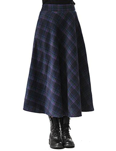 TEERFU Damen Vintage Winter Woll Herbst tartan mit hoher Taille flared röcke Lange Kleider (Maxi Rock Plaid)