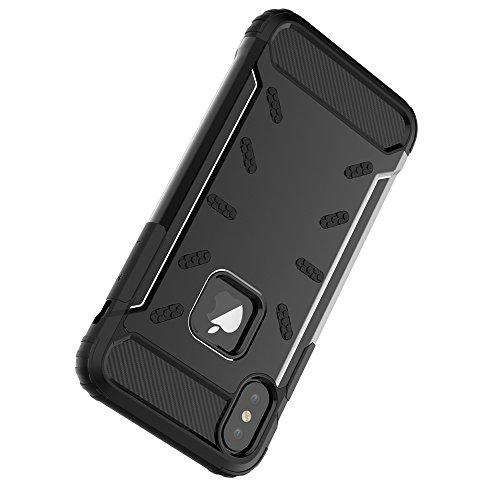 """iPhone X Housse , SHANGRUN Hybrid Defender Aluminium Métal + Fibres de Carbone Resilient Souple TPU Antichoc Case Etui Housse pour iPhone X 5.8"""" Noir Noir"""