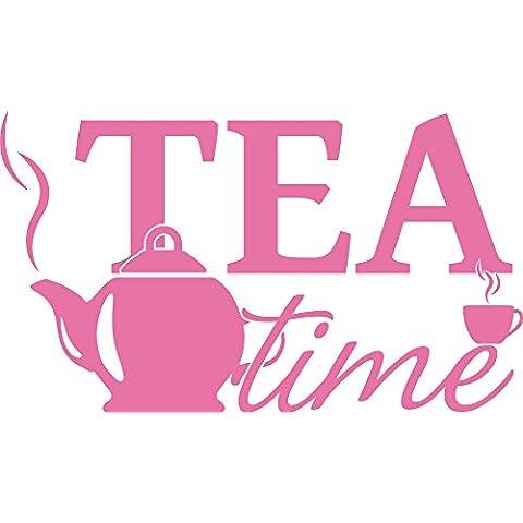 Graz Design–Adhesivo decorativo para pared Tattoo Alemán para cocina Tea Time Tetera Taza, 045 rosa claro, 155x90cm